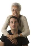 Grandmother hugging her grandson poster