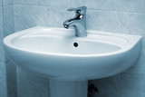 Water faucet and basin poster