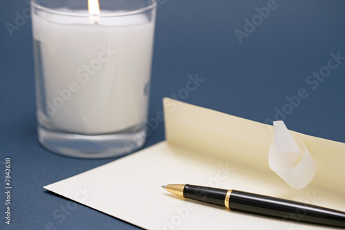 envelope in the candle light