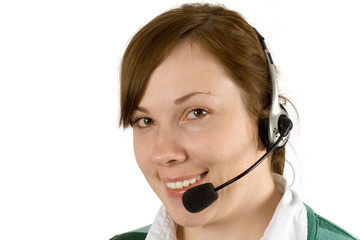 callcentre girl with headset on, smiling