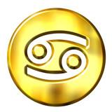 3D Golden Cancer Zodiac Sign poster