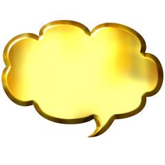 3D Golden Speech Bubble