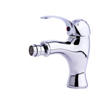 Modern stainless steel tap of bidet. Isolated on white backgroun