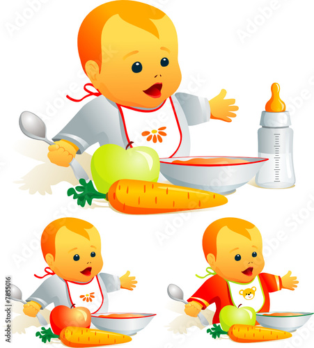 Baby nutrition, solid food, milk. Illustration vector