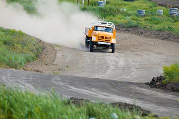 Lorry on race