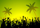 Tropical party background poster