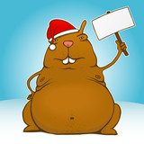 Fat santa rodent with sign - vector poster