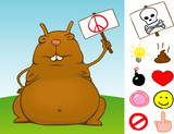 Fat rodent with sign and icon set - vector poster