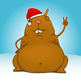 Fat victory/peace santa rodent - vector poster