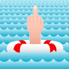 middle finger - sea - lifesaver - vector