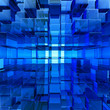 abstract blue cube glass background