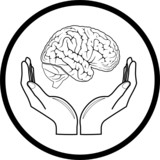 Vector brain in hands icon. Black and white. Simply change.  poster