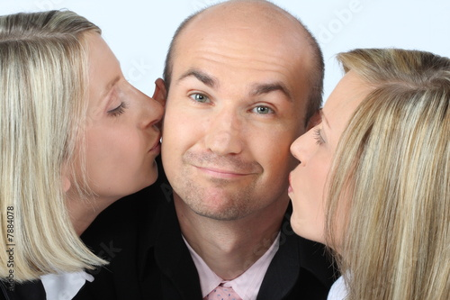 Successful Businessteam - Kiss for the boss
