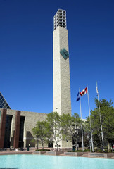 Clock tower and flags at Edmonton's City Hall