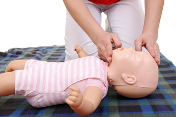 Infant mouth-to-mouth resuscitation demonstration