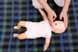 Infant mouth-to-mouth resuscitation demonstration poster