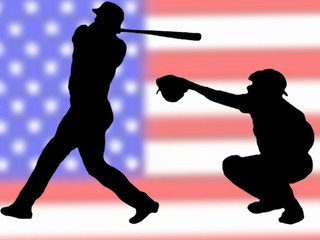 Baseball Silhouett USA Flag Background