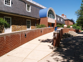 ramp by a brick building