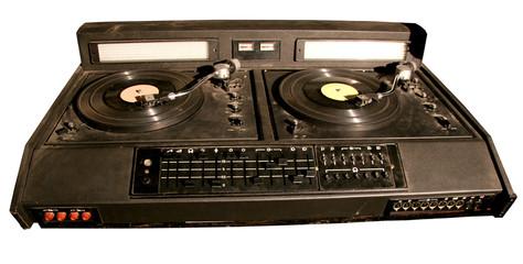 isolated retro dj's mixer