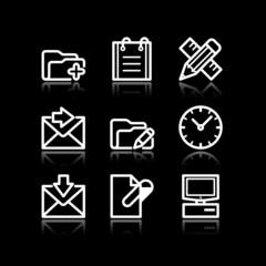 White contour web icons, set 27