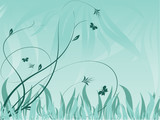 abstract vector floral backdrop with plants and butterflies poster