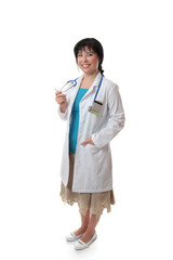 Friendly doctor standing on white background.