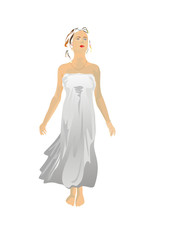 Slenderness  girl in the tunic isolated