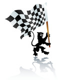 heraldic lion with formula one flag poster