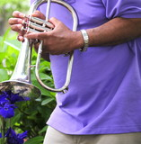 Jazz musician playing his instrument in a flower garden. poster