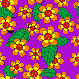 Vivid, colorful, repeating flower background on violet poster