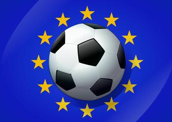Ballon de football et drapeau européen