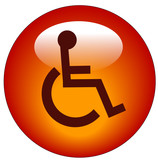 red button or icon with handicap symbol of accessibility  poster