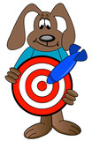 cartoon dog holding target with blue dart hitting the mark  poster
