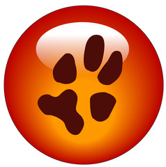 red paw print web button or icon