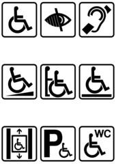 Panneau handicapé noir (détouré)