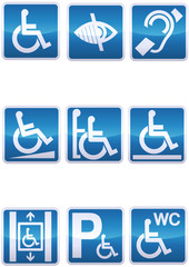 Panneau handicapé bleu reflet métal (détouré)