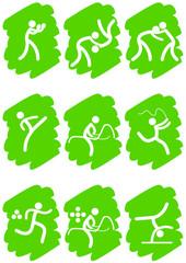 Pictogrammes des jeux olympiques d'été peinture verte(partie 2)