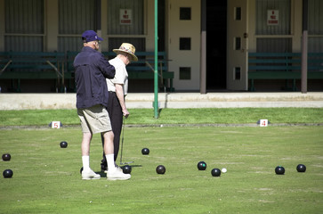 Elderly lawn bowlers