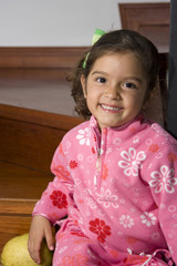 Caucasian little girl smiling