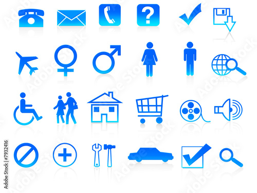 24 Different useful icon set blue colour