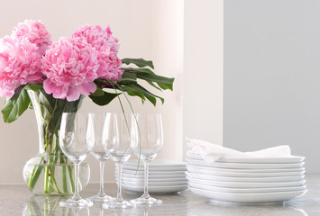white dishes, wine glasses & peonies - entertaining at home