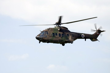 Military helicopter Cougar in flight.