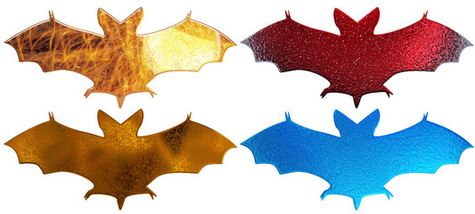 4 metal bats silhouette with water droplets