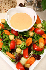 Creamy Garlic French Dressing and Salad