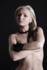 Beauty woman with black rose