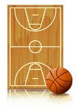 Terrain et ballon de basketball (reflet) poster