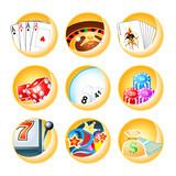 Casino games icon set in editable vector poster