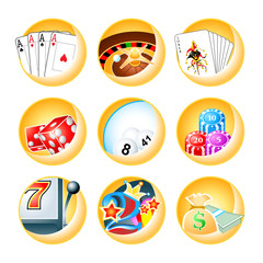 Casino games icon set in editable vector