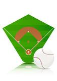 Terrain et balle de baseball (reflet) poster