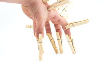 Pegs and hand